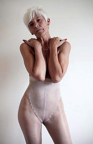 bald old lady close by pantyhose