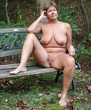 granny mature outdoors posing nude