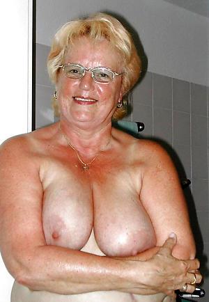 busty mature granny posing bald