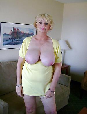 busty adult granny posing unshod